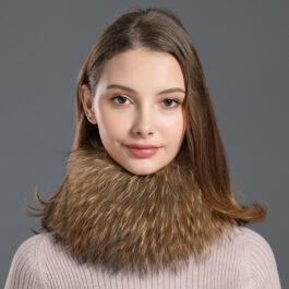 Women's Strip Raccoon Fur Headband Neckwarmer